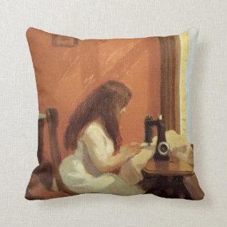 Edward Hopper GIRL AT SEWING MACHINE 1921 Throw Pillow