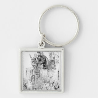 Edward I declaring his son Prince of Wales Silver-Colored Square Keychain