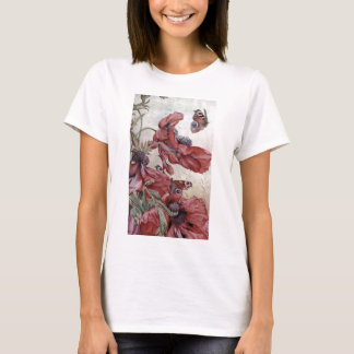Edward Julius Detmold Poppies And Butterflies T-Shirt