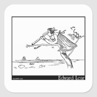 Edward Lear s Young Lady of Portugal Image Square Sticker