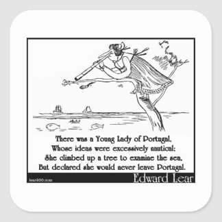 Edward Lear s Young Lady of Portugal Limerick Square Sticker