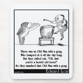 Edward Lear's Old Man with a gong Limerick Mouse Pad