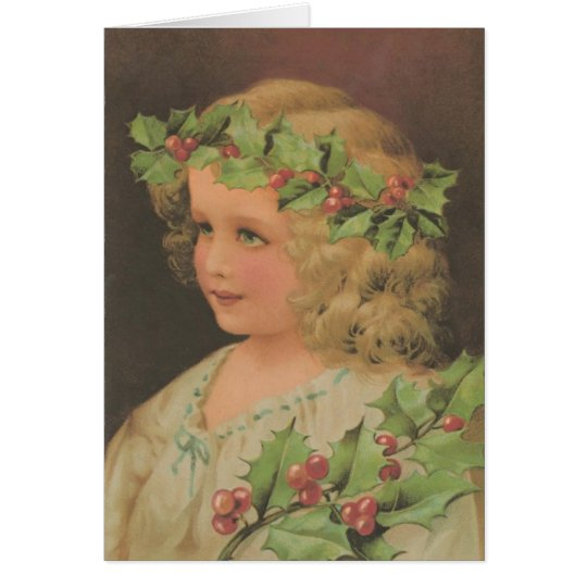 Edwardian Child Holly Christmas Greeting Card