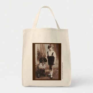 Edwardian girl with her dog grocery tote! grocery tote bag