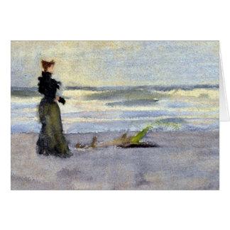 Edwardian Woman on Beach Card