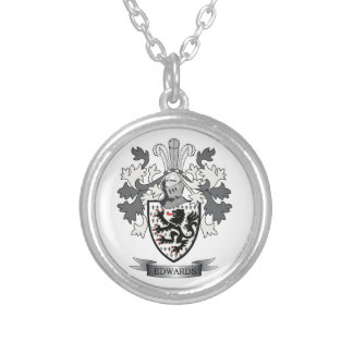 Edwards Family Crest Coat of Arms Silver Plated Necklace