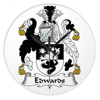 Edwards Family Crest Large Clock