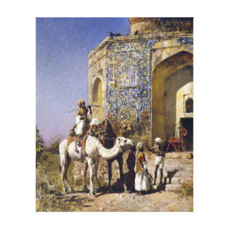 Edwin Lord Weeks The Old Blue-Tiled Mosque Canvas Print
