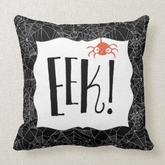 """Eek!"" Scary Cute Spider Halloween Design Throw Pillow"