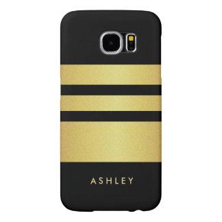 Eelgant Black Gold Glitter Stripes Pattern Samsung Galaxy S6 Cases