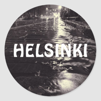 eeRain water flowing on the streets of Helsinki Classic Round Sticker