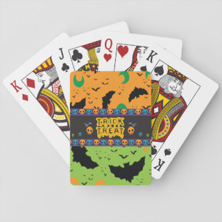 Eerie Bats and Moon Orange Green Halloween Skulls Poker Deck