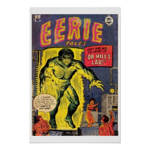 Vintage Book Cover Posters : Eerie tales vintage comic book cover poster zazzle