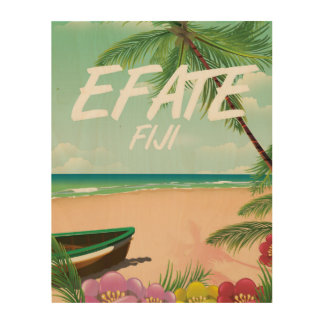 Efate Fiji Pacific travel poster Wood Canvas