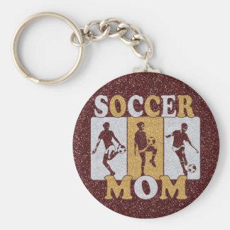 Effet de scintillement de maman du football porte-clé rond