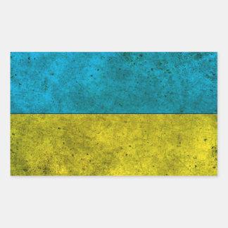 Effet en acier âgé par drapeau ukrainien stickers en rectangle