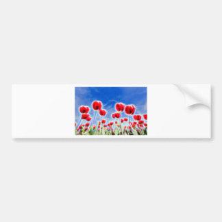 Effets de la lumière en groupe de tulipes rouges autocollant de voiture
