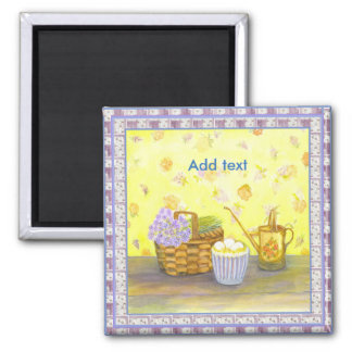 Eges and Flowers by Bonhovey 2 inch square magnet