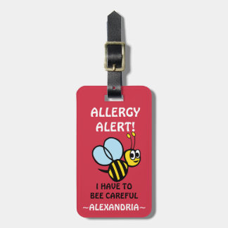 Egg Allergy Alert Bumblebee Personalized Red Travel Bag Tags