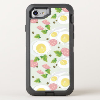 Egg and Sausage Pattern OtterBox Defender iPhone 7 Case
