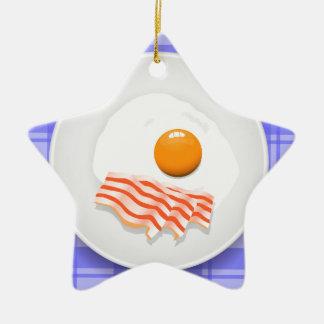 egg bacon ceramic ornament