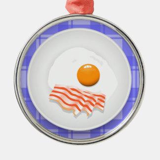 egg bacon metal ornament