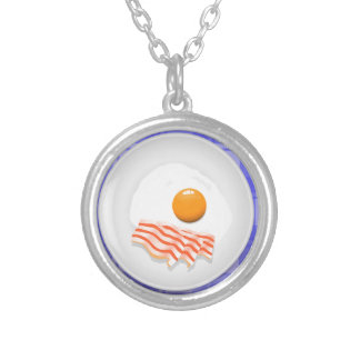 egg bacon silver plated necklace