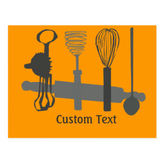 Egg Beaters Spoon and Rolling Pin Designs Postcard