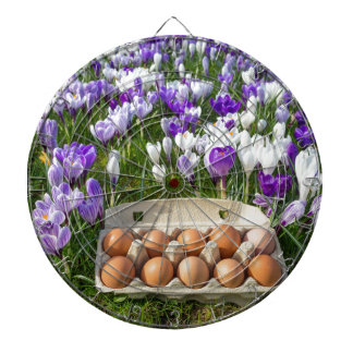Egg box with chicken eggs in crocuses dartboard