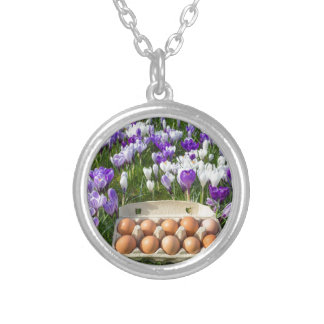 Egg box with chicken eggs in crocuses silver plated necklace