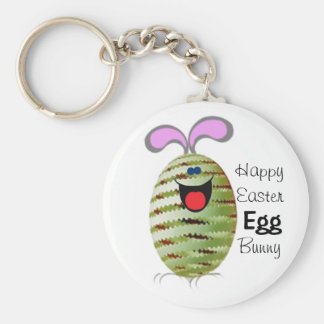 Egg Bunny Easter Basic Round Button Keychain