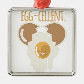 Egg-cellent Silver-Colored Square Ornament