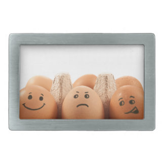 Egg emotions. rectangular belt buckle