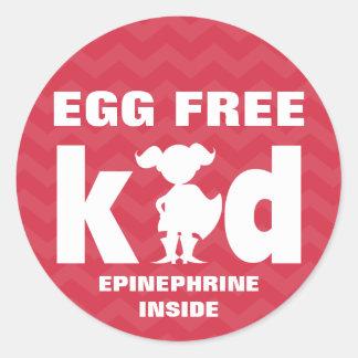 Egg Free Egg Allergy Superhero Girl Epinephrine Round Sticker