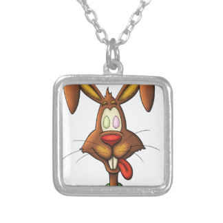 egg mad easter bunny funny cartoon drawing silver plated necklace