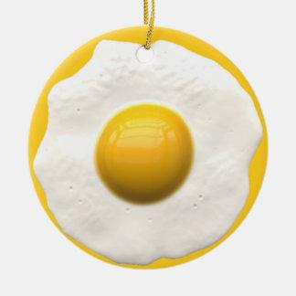 Egg Over Easy Round Ceramic Ornament