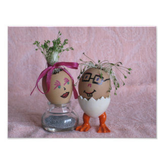 Egg People Easter Couple Eggs With Hair Print Photograph
