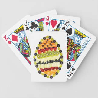 Egg shaped fruit pie with various fruits bicycle playing cards