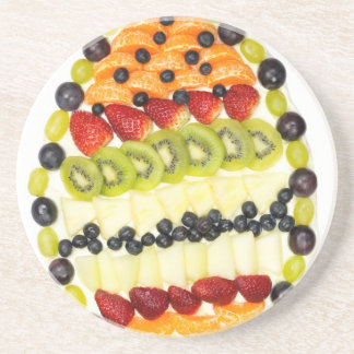 Egg shaped fruit pie with various fruits coaster