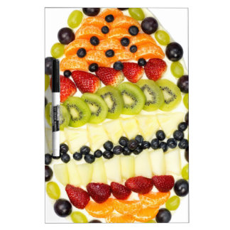 Egg shaped fruit pie with various fruits dry erase whiteboards
