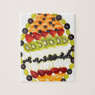 Egg shaped fruit pie with various fruits jigsaw puzzle