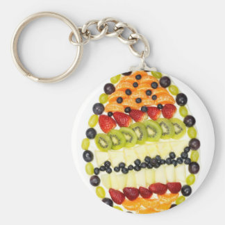 Egg shaped fruit pie with various fruits keychain