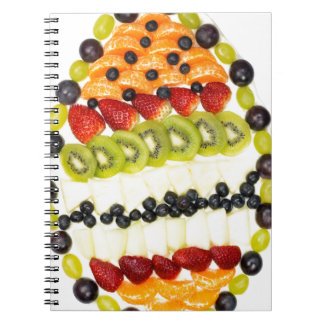 Egg shaped fruit pie with various fruits notebooks