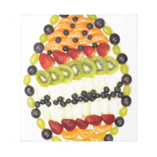 Egg shaped fruit pie with various fruits notepad