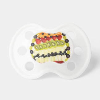 Egg shaped fruit pie with various fruits pacifier