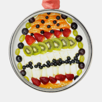 Egg shaped fruit pie with various fruits Silver-Colored round ornament