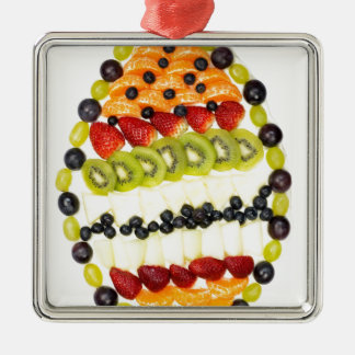 Egg shaped fruit pie with various fruits Silver-Colored square ornament