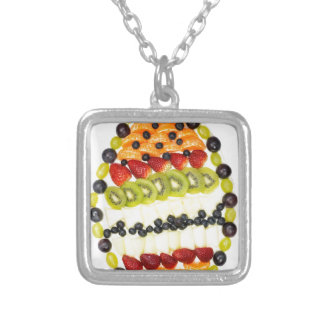 Egg shaped fruit pie with various fruits silver plated necklace