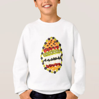 Egg shaped fruit pie with various fruits sweatshirt