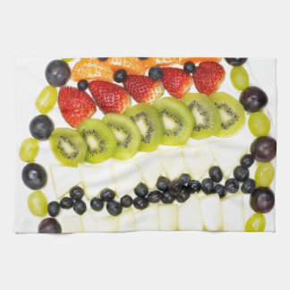Egg shaped fruit pie with various fruits towel